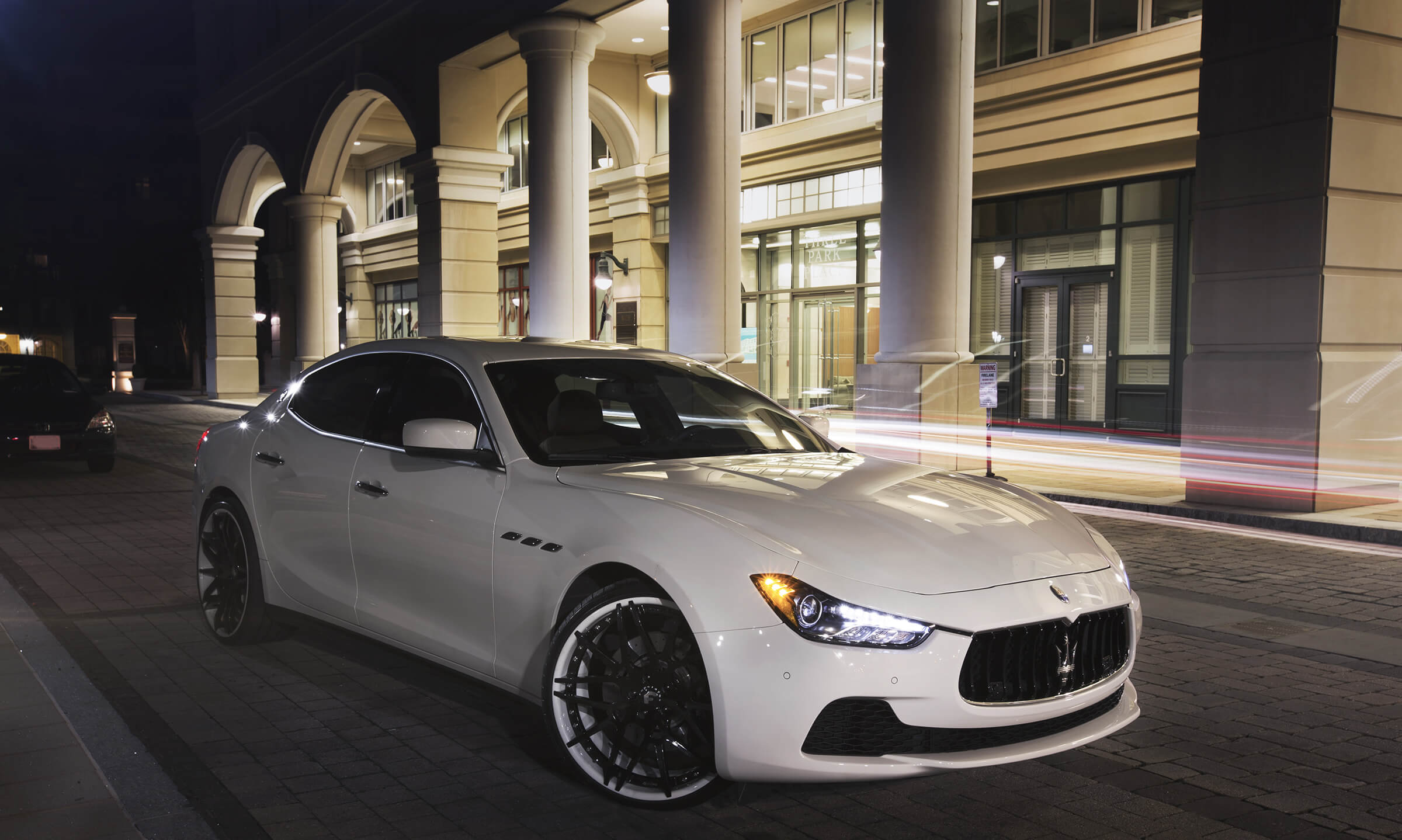 White Maserati with rims from Wheelz